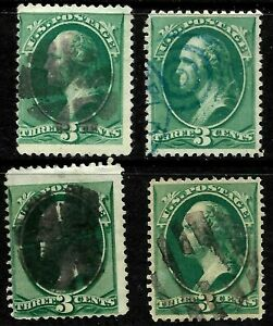 Fancy-Cancels-3-Cent-Green-Banknotes-147-158-184-207-US-Stamps-34C52