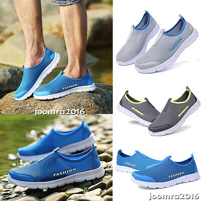 Casual Walking Outdoor Flats Sneakers Men Breathable Mesh Slip On Water Shoes