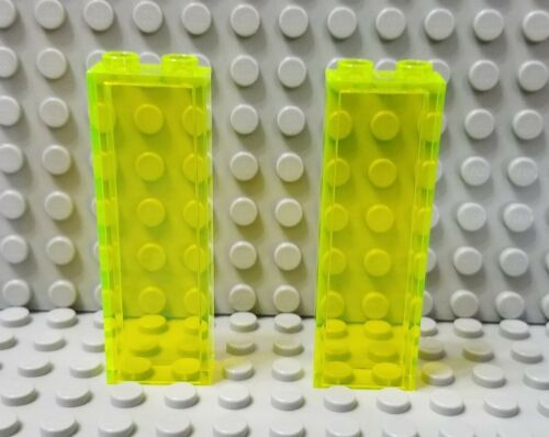 LEGO Lot of 2 Translucent Neon Green 1x2x5 Wall Brick Pieces