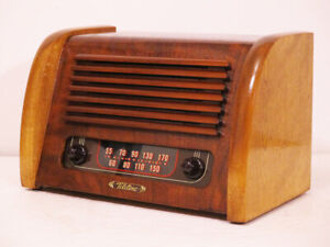 Old-Antique-Wood-Teletone-Vintage-Tube-Radio-Restored-amp-Working-Deco-Table-Top