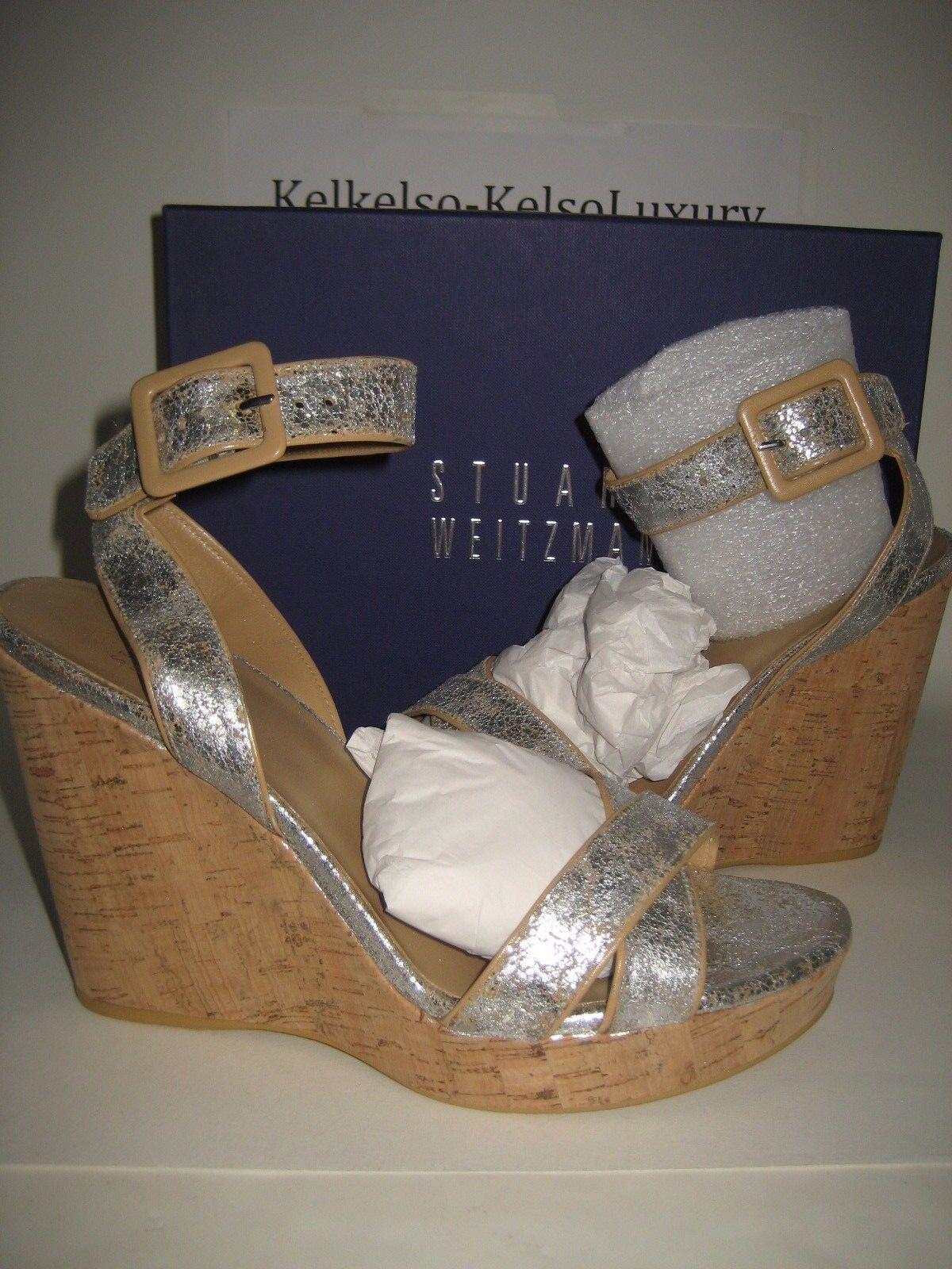 398 Nueva Stuart Weitzman Mujer EE. UU. 10 10 10 anexo Cromo agrietado Cuña Sandalias Zapatos Bx  entrega gratis