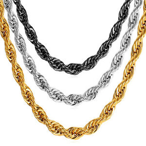 Stainless-Steel-Rope-Chain-Necklace-18K-Gold-Plated-Men-039-s-Jewelry-3-9MM-18-034-30-039-039