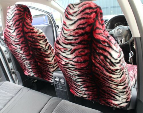 Red Tiger Faux Fur Furry Car Seat Covers Full Set Peugeot 107