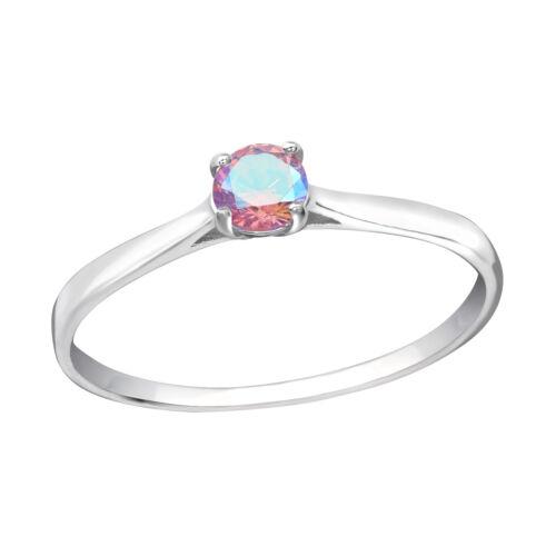 Ronda De Cristal De La Cz Solitario Rosa La Eternidad Plata esterlina anillo de apilamiento