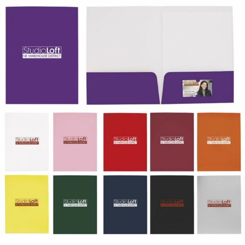 Personalized Gloss Paper Folder Foil Stamp Printed with your Logo Text 100 QTY