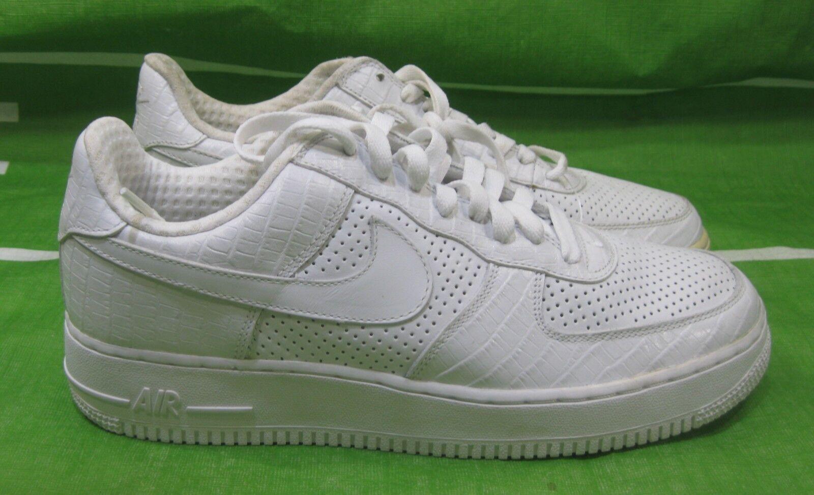 Nike Air Force 1 premium White Crocodile Pelle 309096-112 Taglia 9.5