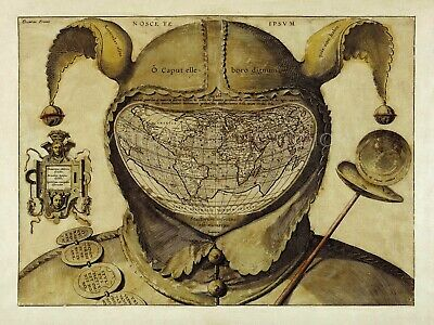 Fool's Cap Map of the World Vintage Enduring Mystery Giclee Canvas Print 40x30