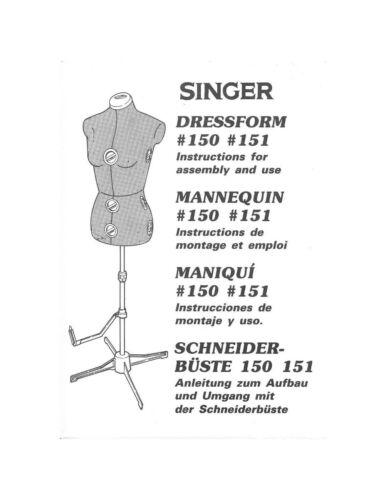 SINGER 150-151 Dress Form Mannequin Owners Manual | eBay