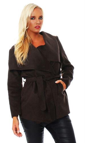 Damen Mantel Wasserfallkragen Übergang Jacke kurz Übergangsjacke Warm  AM 263