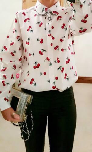 WOMANS Designer Bianco Rosso Ciliegia lavoro Boutique abito blusa top shirt 18