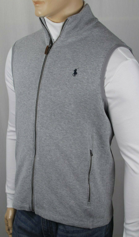 Polo Ralph Lauren Grey Full Zip Sweater Vest Navy bluee Pony NWT