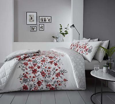 Neue Mode Blumenmuster Aquarell Stil Rot Baumwollgemisch Breites Doppelbett 4 Stück Rheuma Und ErkäLtung Lindern Möbel & Wohnen