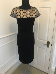 Austin Reed Uk 8 Black Midi Dress Lbd Bronze Smart Work Office Party Vintage Ebay