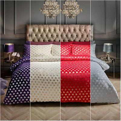 Heart Foil Design Luxury Duvet Covers Super Soft Cosy Teddy Fleece Bedding Sets