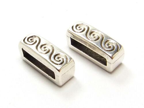 2 x metal perla slider para 10 mm banda ancha rectángulo plateado; n268