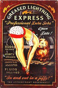 Man-Cave-Gift-Men-Vintage-Pin-Up-Sexy-Girl-Bar-Pub-Garage-Metal-Sign-Lube-Job