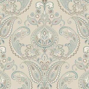 Wallpaper-Candice-Olson-Tasara-Paisley-Damask-Aqua-Blue-Brown-on-Pearl-Beige