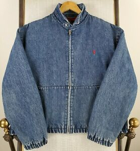 VTG-POLO-RALPH-LAUREN-Size-Large-Mens-Denim-Bomber-Jacket-Coat-Red-Cotton-Lined