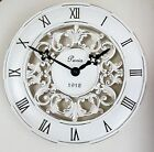 Shabby Chic Vintage French Style Wall Clock in Antique Cream 28cm Country Kitchen
