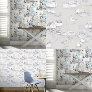 Arthouse-Maritime-Collage-Curlew-Bay-Beech-Seaside-Nautical-Wallpaper-Blue-Grey