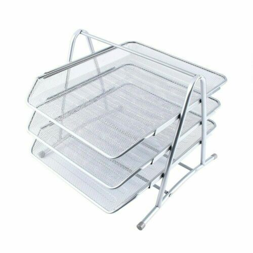 3 Tier Office Files Metal Mesh A4 Paper Document Holder Desk Top Organizer Tray