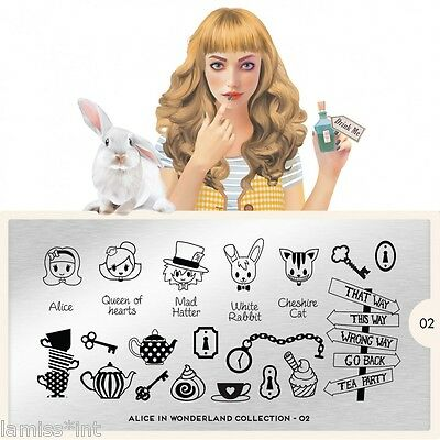MoYou London ALICE 2 Collection Stamping Schablone, Schrift Hase Tee Buchstaben