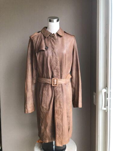Women's GAP Long Brown Genuine Leather Trenchcoat