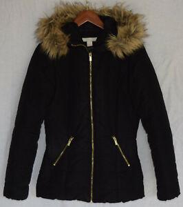 the latest ea64f 235cf Details zu H&M Jacke Winterjacke Fell Kapuze schwarz Gr. 36 TOP