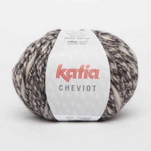- 100 g // ca MARRÓN//BEIGE 120 m Wolle CHEVIOT von Katia 110