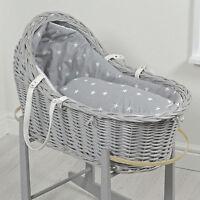 4baby Grey White Stars Grey Wicker Baby Moses Basket / Royal Pod & Mattress