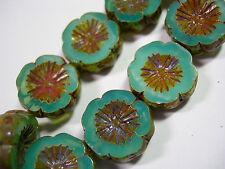 10 beads - Aqua Opal Picasso Czech Glass Flower Beads 14mm