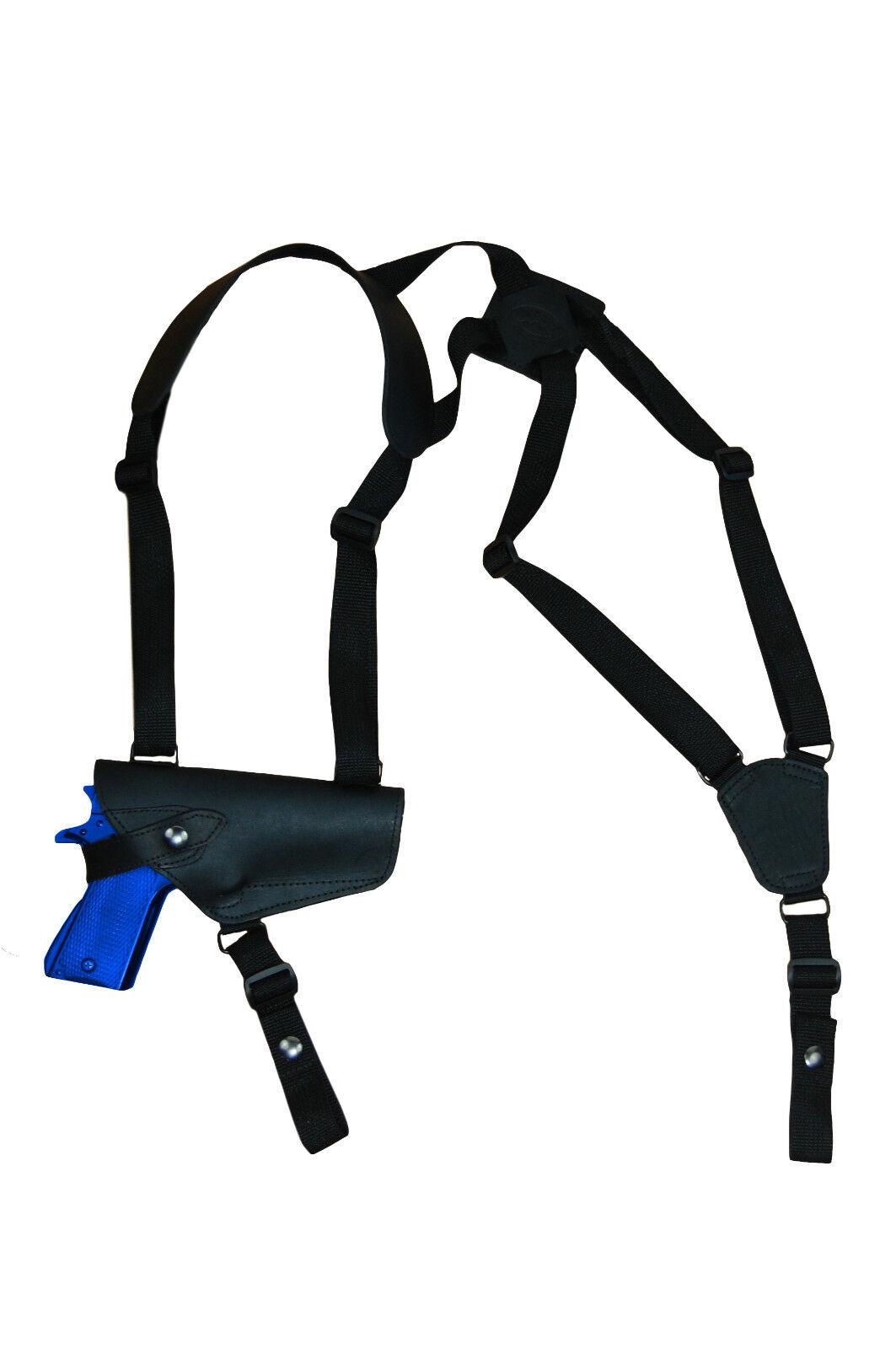 Nuevo barsony Horizontal Negro Cuero Pistolera de hombro para Ruger, estrella de tamaño completo