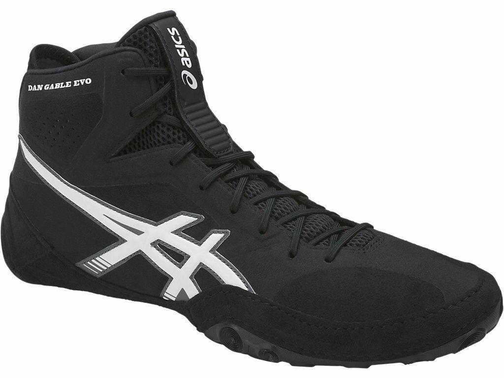 Asics Dan Gable Evo Para hombre J700Y.9001 Negro blancoo zapatos de lucha de carbono