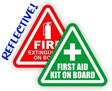 REFLECTIVE 2-inch Fire Extinguisher  FIrst Aid Kit on Board Decals Stickers 4x4