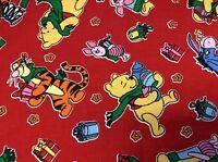 Disney 8872 Winnie, Tigger, Eeyore & Piglet Christmas On Red- By The Yard