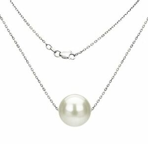 Pearl-Pendant-Necklace-7-8mm-White-Freshwater-Pearl-Sterling-Silver-18-039-039