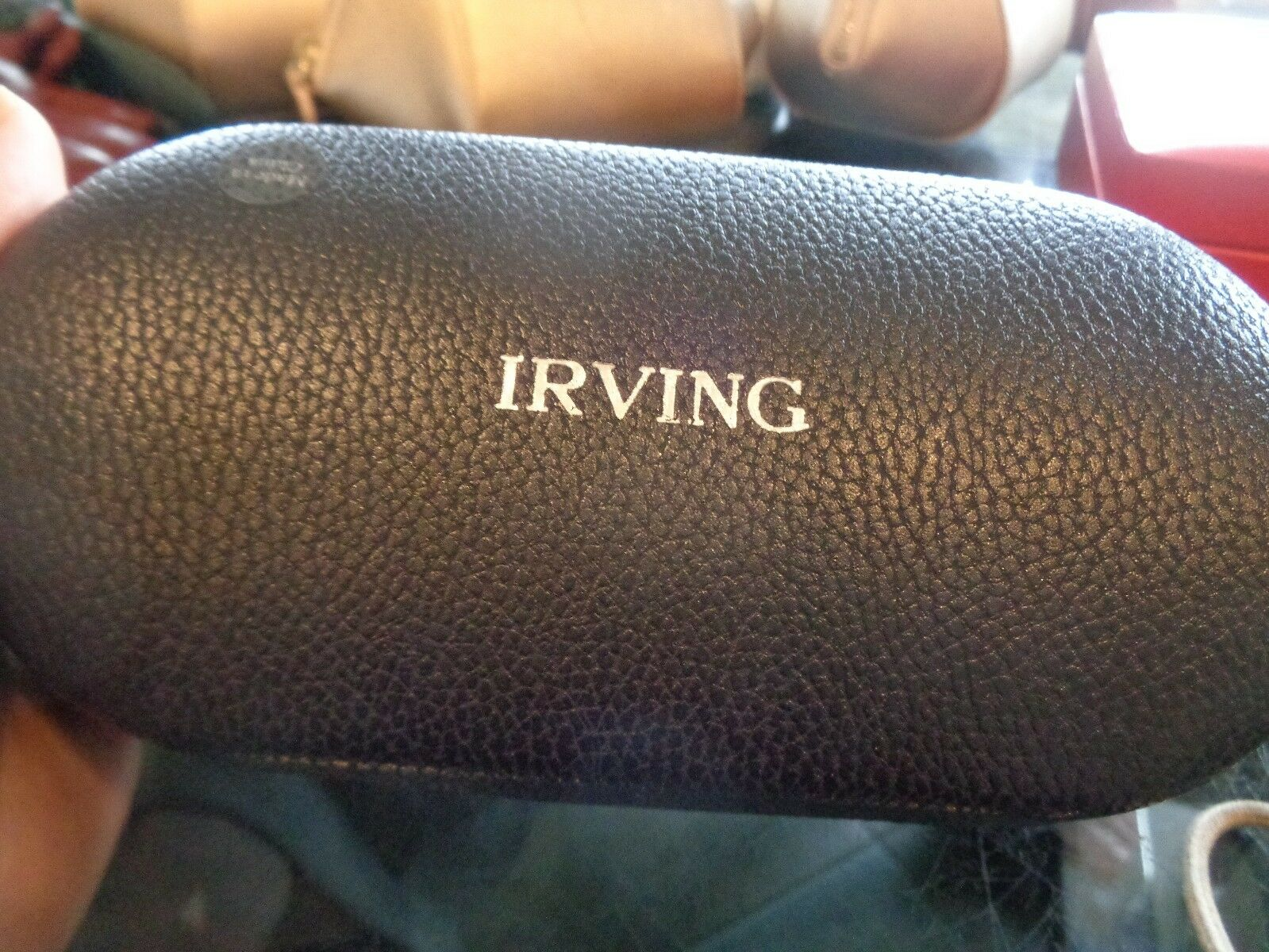 Mark and Graham leather dual sunglass case navy blue monogrammed Irving New