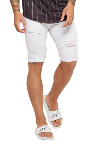 White Good For Nothing Mens Summer Holiday Shorts Skinny Destroyed Denim