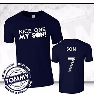 new arrival 41372 34719 Details about Tottenham Hotspurs Son Heung-min T-Shirt COYS Nice One My Son  Blue Spurs Tee