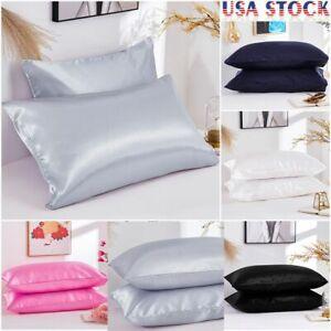 2X NEW Satin Silk Pillowcase Pillow Case Cover King Queen Standard Cushion Cover