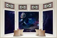 Huge 3D Bay Window Fantasy Underwater View Wall Stickers Wallpaper Mural 685