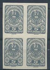 Austria 1920 Sc# 227 imperf Coat of arms block 4 MNH