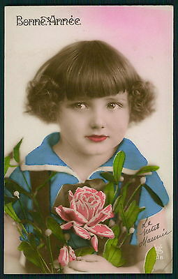 Pretty Deco Child Girl Glamour Tinted original vintage 1920s photo postcard 1000