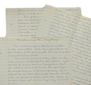 1918 Handwritten Homework Report: Children & Their Playthings Antique Ephemera