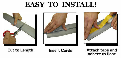 """with Double Sided Tape 3/"""" Wide Kable Kontrol PVC Floor Cord Cover Kit"""