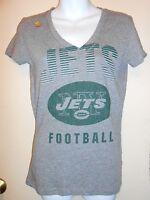 Nfl Team Apparel Womens York Jets Vee Neck T-shirt Gray Medium (m)