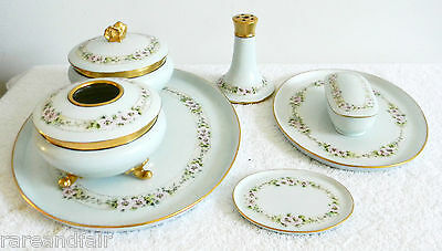 Limoges tray set - 7 items - circa 1905 -  h p flowers - FREE SHIPPING