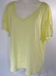 Lane-Bryant-Plus-Size-Short-Sleeve-T-Shirt-Top-Yellow-Green-Lace-V-Neck-22-24