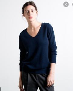 Everlane-Cashmere-Navy-V-Neck-Long-Sleeve-Pullover-w-Elbow-Pads-Women-039-s-MEDIUM