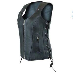 Leren Carry Soft Premium W Vest Concealed Dames Motorfiets Biker Dames lace wAx4q7T